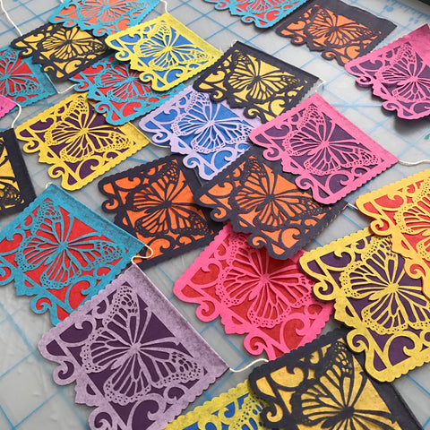 Bright Colors - Las Monarchas papel picado by Ay Mujer Shop