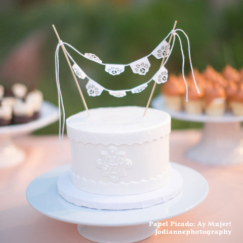 Papel picado Wedding cake topper by Ay Mujer