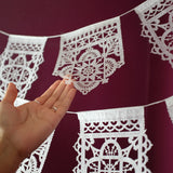 White talavera wedding papel picado by Ay Mujer shop