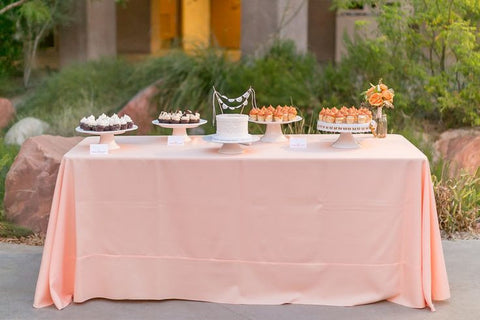 Wedding cake dessert table peach by Ay Mujer