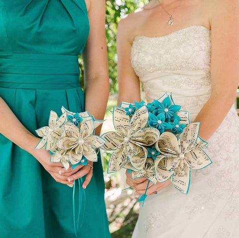 Custom Sheet Music & Comic Book Wedding Package- one of a kind paper flowers