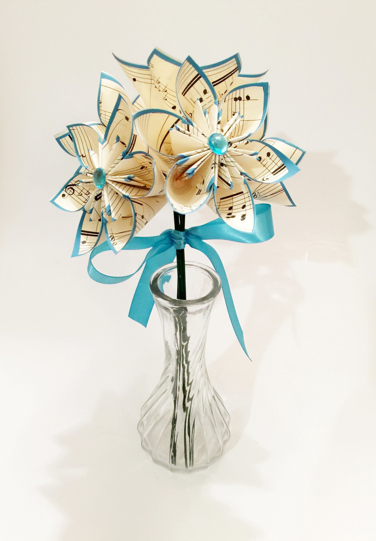 Set of 5 Sheet Music Flowers- vase included