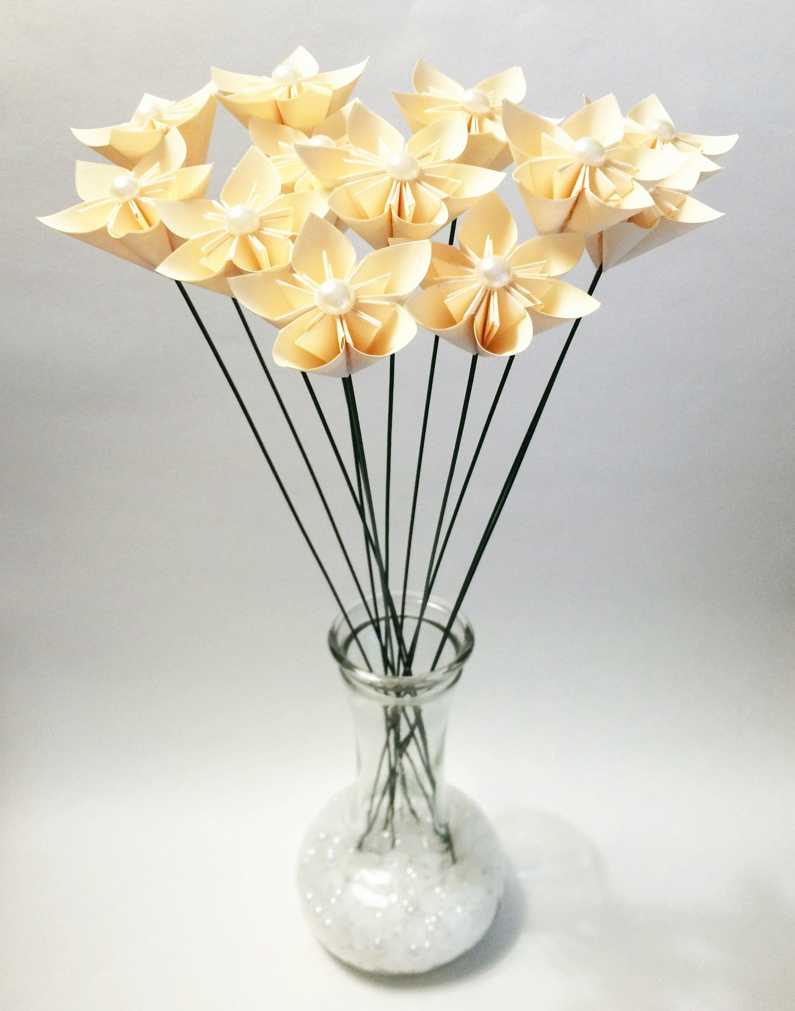 12 Stemmed Paper Flowers- traditional origami, choose your color, wedding decor, anniversary gift, small bouquet