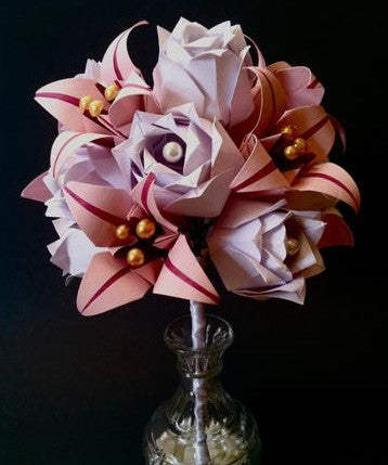 A Dozen Paper Roses With Lilies