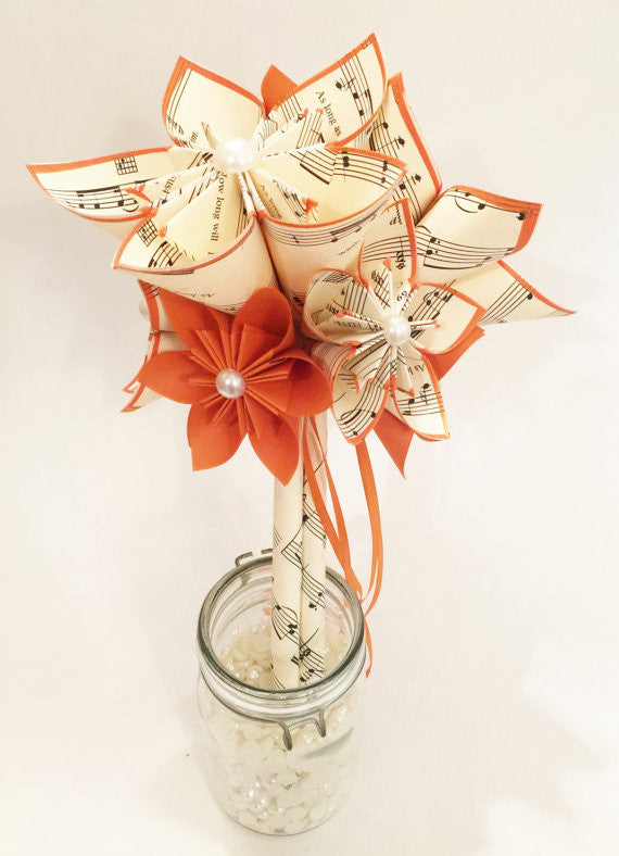 Custom Sheet Music Bouquet- 7 inch bridesmaid bouquet, one of a kind