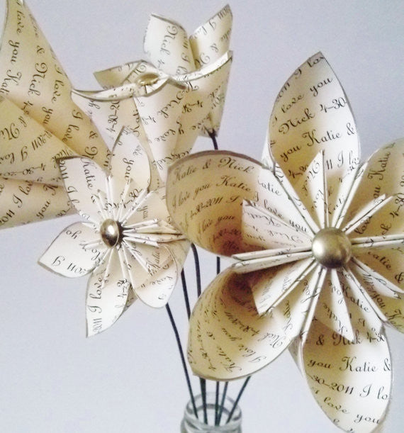 Personalized Anniversary set of 6- handmade paper flower