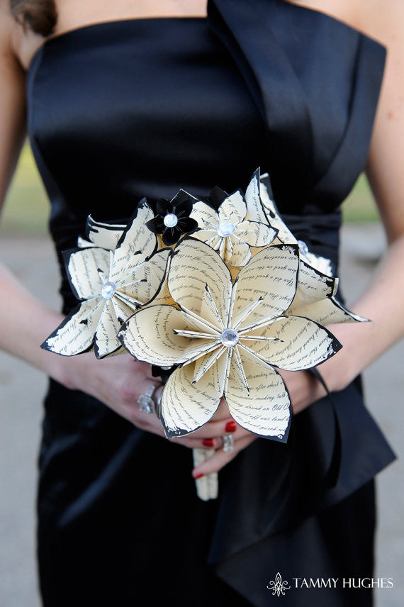 12 inch Bridal Bouquet- made to order with your choice of paper & accent colors