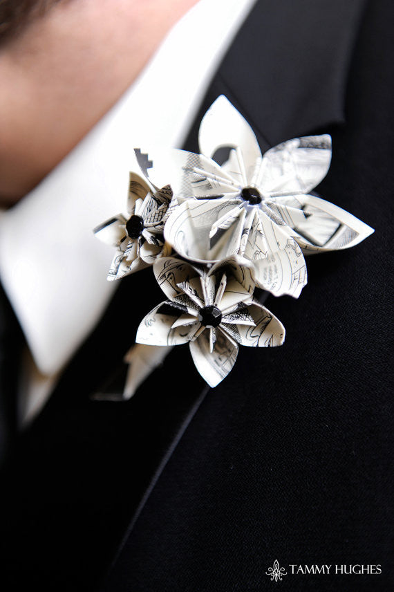 Comic Book Boutonniere- Your choice of comic book & accent colors