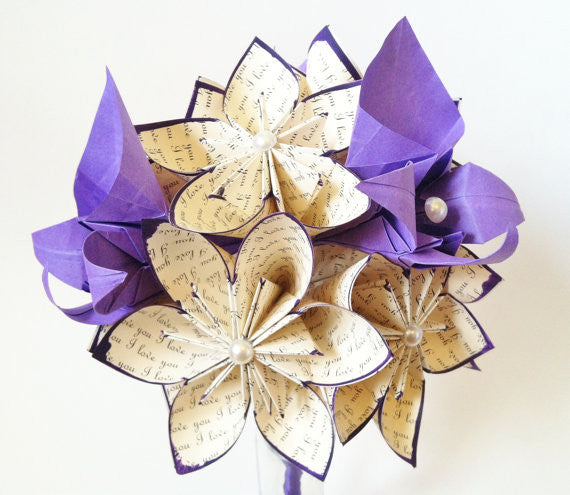A Dozen Handmade Paper Flowers With Orchids