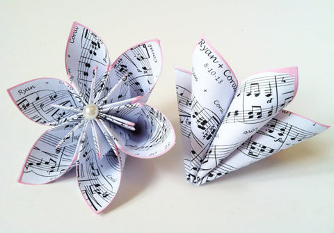 Set of 2 Personalized Sheet Music Flowers