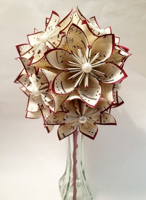 A Dozen Sheet Music Paper Flowers