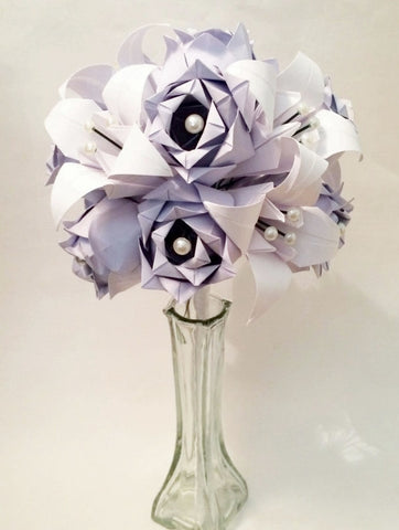 Dozen Paper Roses & Lilies- Vase Included