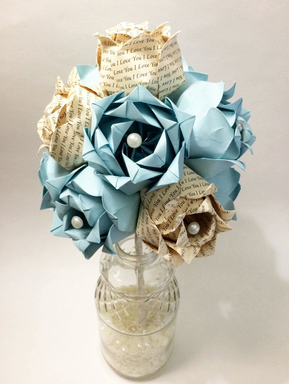 Dozen Paper Roses- Wedding bouquet, first anniversary gift, perfect for her, Personalized, one of a kind, alternative, origami, paper flower