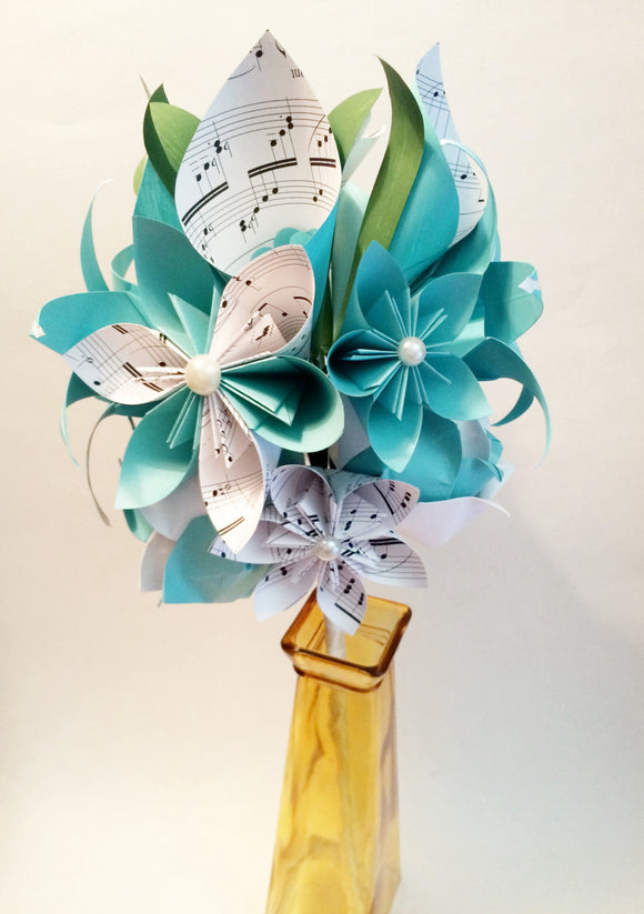 Calla Lily Paper Bouquet- One of a kind origami, calla lily, paper rose, first anniversary gift, perfect for her, personalized, sheet music