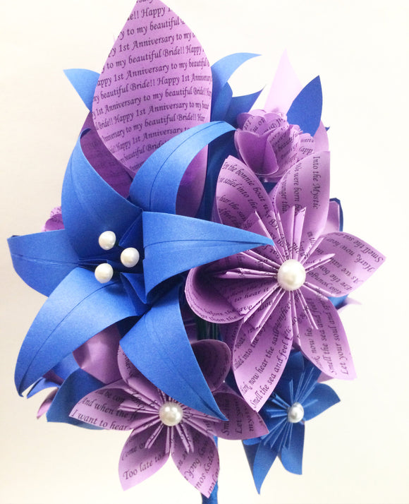 Calla Lily Paper Bouquet- One of a kind origami, made to order,calla lily, paper rose, first anniversary gift, perfect for her, personalized