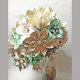 Shabby Chic Cascading Bouquet- Paper Bouquet, one of a kind origami, Bridal bouquet, kusudama, paper roses & lilies, your color scheme, gift