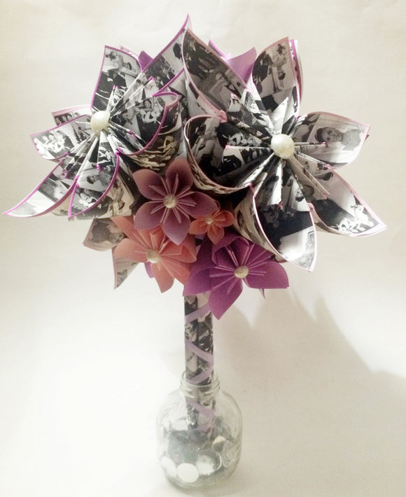 Memory Bouquet- 12 inch bouquet, your family photos, perfect for her, perfect for mom, first anniversary gift, one of a kind origami flowers