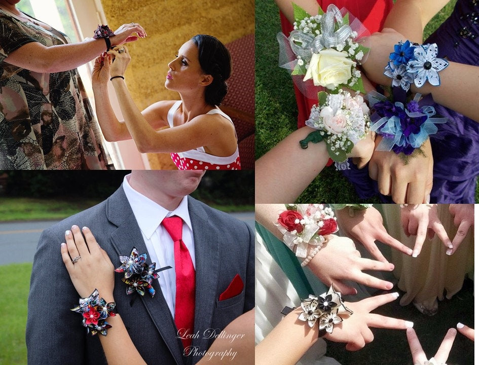 Origami Paper Flower Wrist Wrapped Corsage- handmade accessory for prom, a bride, bridesmaids, or mother of the bride