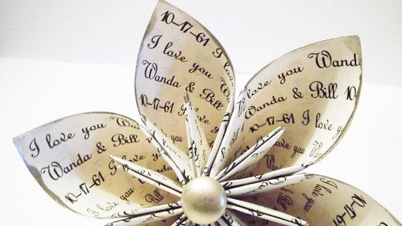 Personalized Anniversary  I love you Paper Flower- custom, handmade, gift, wedding, gifts for her, origami, cake topper, wedding decor