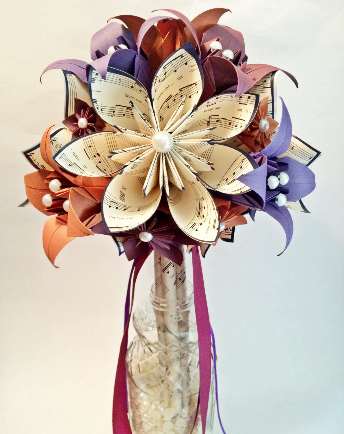 Brides Bouquet of Paper Daisies & Lilies- one of a kind origami, made to order, fall wedding, destination wedding, sheet music paper flowers