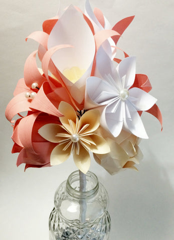 Calla Lily Paper Bouquet- One of a kind origami, calla lily, paper rose, first anniversary gift,perfect for her, ivory, coral, white flowers