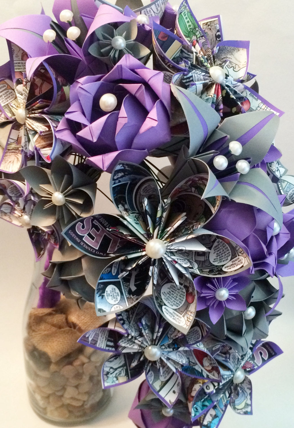 Comic Book Cascading Bouquet- Paper Bouquet, one of a kind origami, Bridal bouquet, kusudama, paper roses & lilies, your color scheme, gift