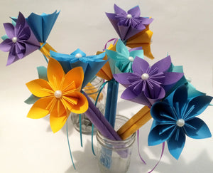 5 Petit Paper Flower Bouquets- made to order with your accent colors