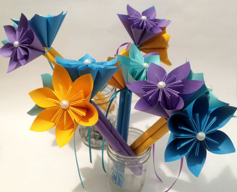 5 Petit Paper Flower Bouquets- made to order, bridal party, centerpiece, decoration, budget friendly, non traditional, paper flower bouquet