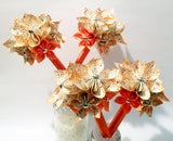 Handmade Petit Paper Wedding Bouquet- 6 inch, 9 flowers, origami, custom, made to order, bride, bridesmaid