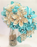 Cascading Bridal Bouquet- Paper Bouquet, one of a kind origami, Brides bouquet, kusudama, paper roses and lilies, your color scheme
