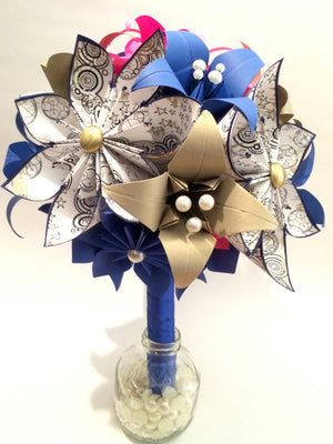Dr. Who Brides Bouquet- Paper flowers & Lilies, Gallifrey, Origami, bridal bouquet, handmade bouquet, alternative bouquet, nerd, geekery