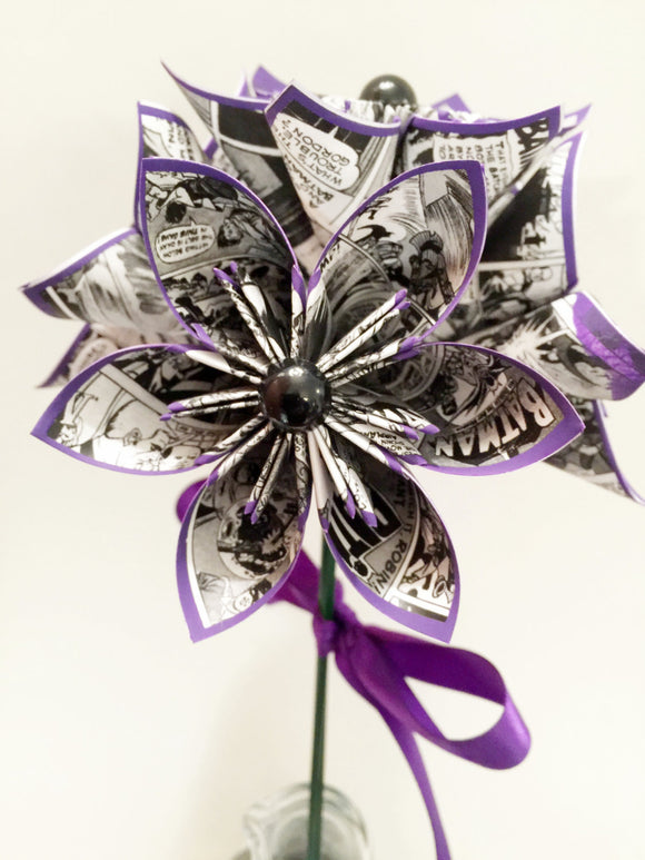 5 Comic Book Paper Flowers- Ready to ship, one of a kind origami, handmade gift, purple, anniversary gift, wedding decor, perfect for her