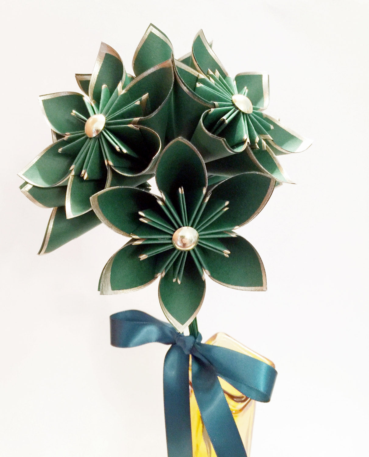 6 Gold & Emerald Paper Flowers- Ready to ship, 1st Anniversary gift, handmade origami, gift, birthday, wedding decor, perfect for her