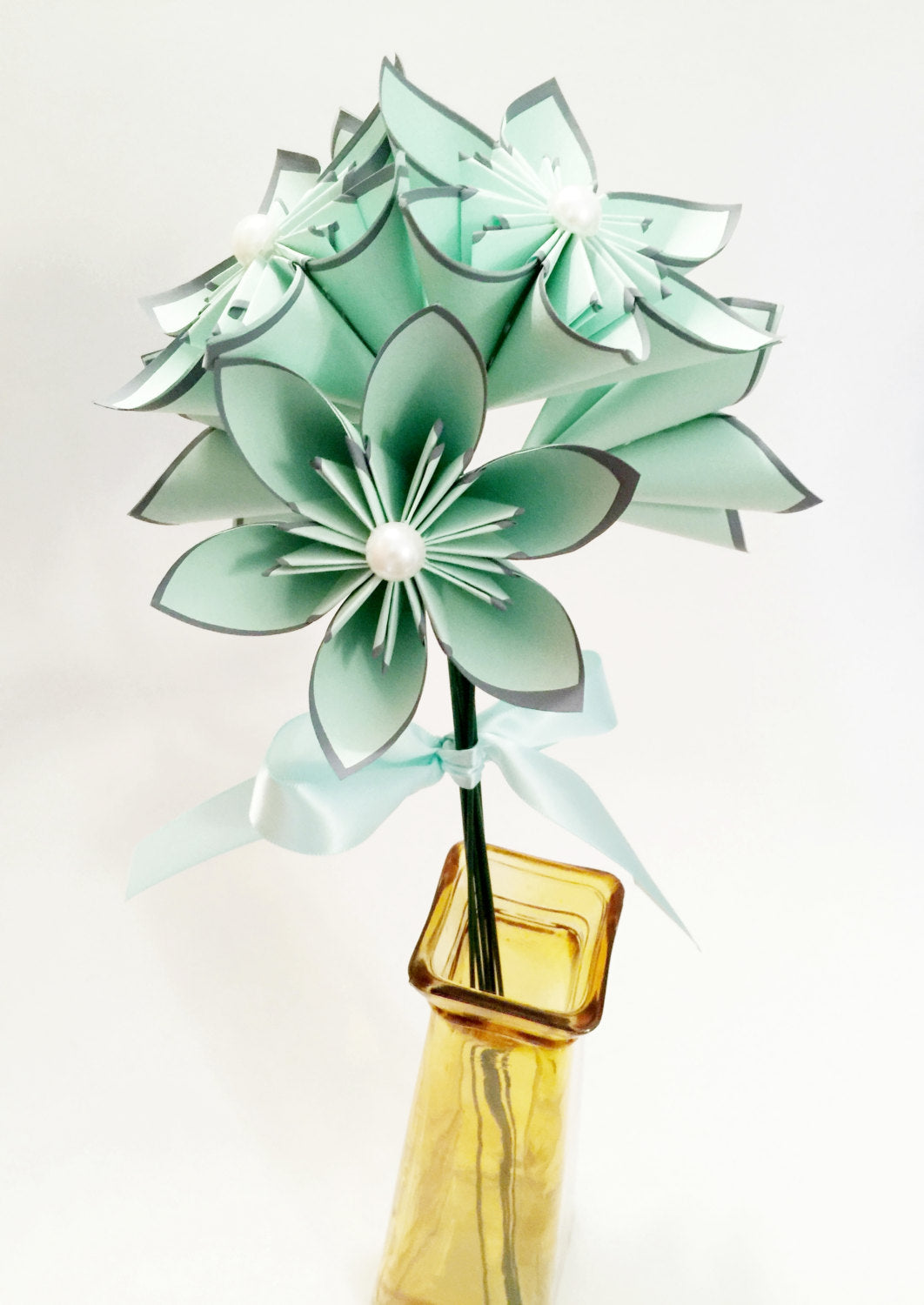 6 Mint & Grey Paper Flowers- Ready to ship, handmade origami, anniversary gift, wedding decor, perfect for her, bouquet