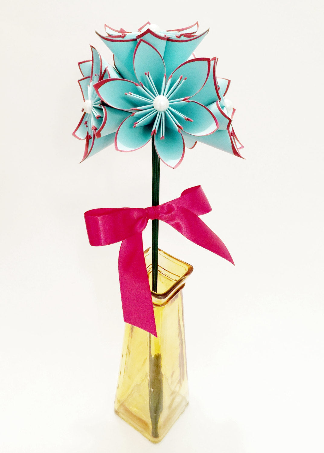 5 Turquoise Red Paper Flowers Ready To Ship Handmade Origami
