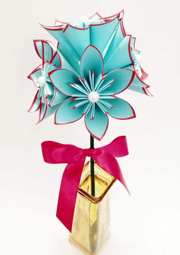 5 Turquoise & Red Paper Flowers- Ready to ship, handmade origami, anniversary gift, wedding decor, perfect for her, bouquet, summer wedding