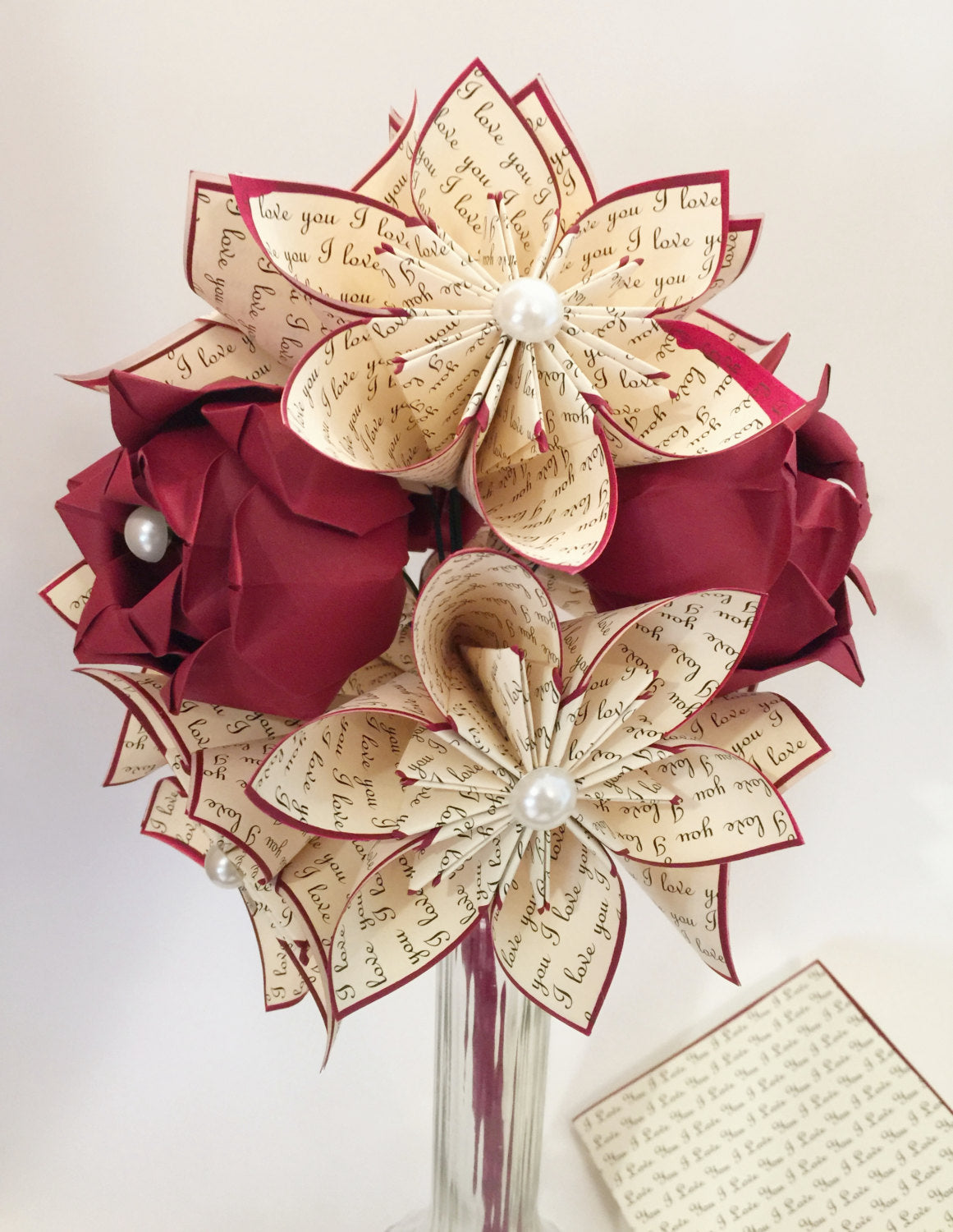 Custom Dozen Flowers with Red Roses- Vase & Card Included, Your names and anniversary date, one of a kind origami gift