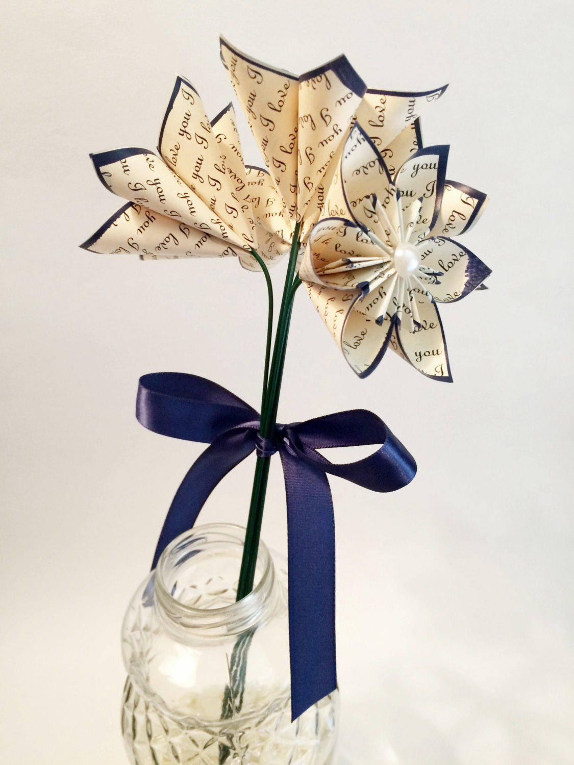 5 I Love You Paper Flowers- Ready To Ship, perfect for her, handmade anniversary gift, wedding decor, origami, navy blue daisy,small bouquet