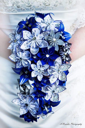 Gallifreyan Cascading Bouquet- Doctor Who Theme, one of a kind origami, Bridal bouquet, paper roses & lilies, your choice of color scheme