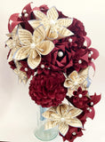 Hydrangea Cascading Bridal Bouquet- One of a kind Handmade Bouquet, hydrangea, paper roses & lilies, your choice of color scheme