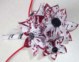 Handmade Grooms Boutonniere- origami paper flowers, upcycled, groomsman, pin,  best man