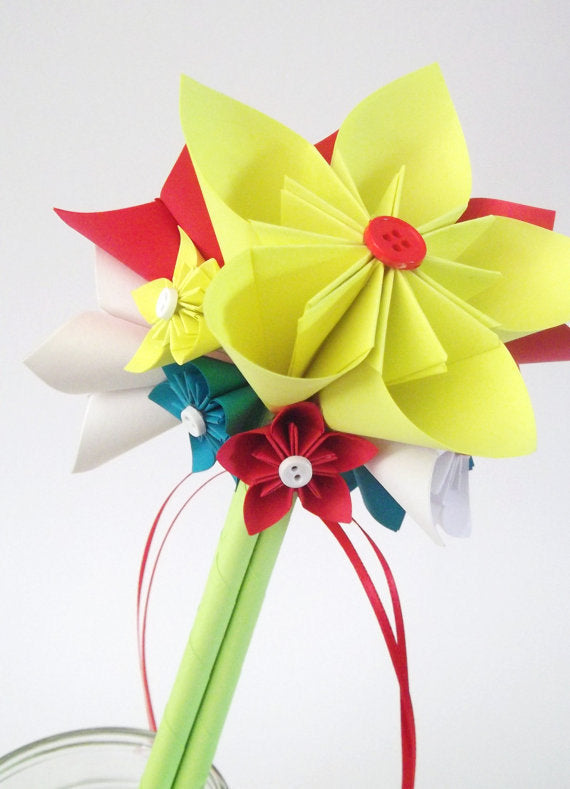 Paper Flower Bouquet- 7 inch, 10 flowers, One of a kind, Bridal, bridesmaid, Spring Wedding, 1st anniversary, gifts for her