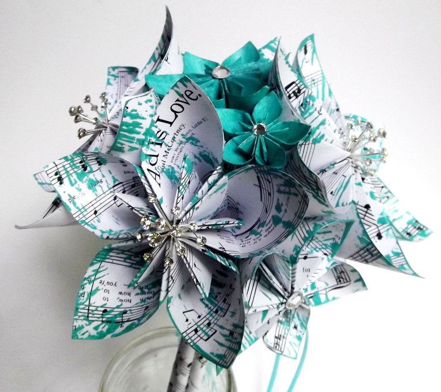 Paper Flower Wedding Package- Made to order, one of a kind origami, bride, groom, bridesmaid, groomsmen, handmade bridal bouquet