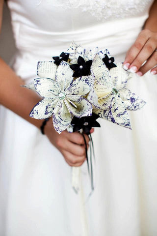 Bridal Bouquet- A Midsummer's Night Dream, 10 inch, 15 paper flowers, handmade, one of a kind, origami, destination wedding