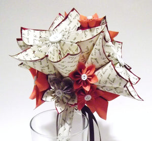 I Love You Paper Flower Wedding Bouquet- 8 inch, 15 flowers, origami, bridal, anniversary, one of a kind, made to order