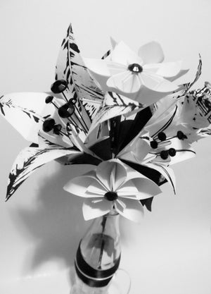 Paper Flower Lily Wedding Bouquet- handmade, one of a kind, made to order, bride, bridesmaid, centerpiece, decoration