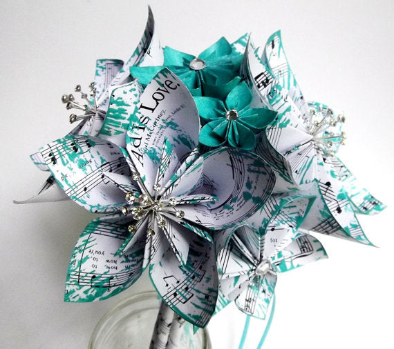 Bridal Sheet Music Wedding Bouquet with Gem Bursts- 9 inch diameter, 16 flowers, made to order, one of a kind, anniversary gift, bridesmaid,