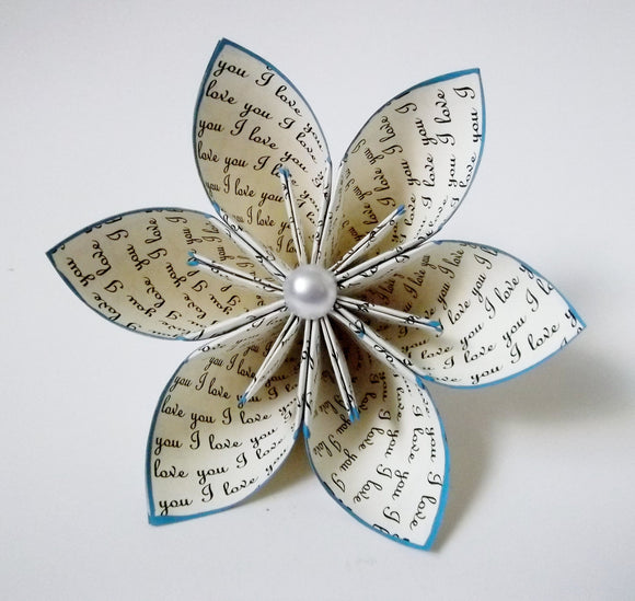 I love you Paper Flower- Wedding, bouquet, gift, cake topper, origami, handmade, one of a kind, mothers day, something blue, love, art