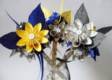 Daisy Bridesmaid Bouquet- 7 inch, 12 flowers, paper flowers, wedding bouquet, handmade, one of a kind, nontraditional, gift