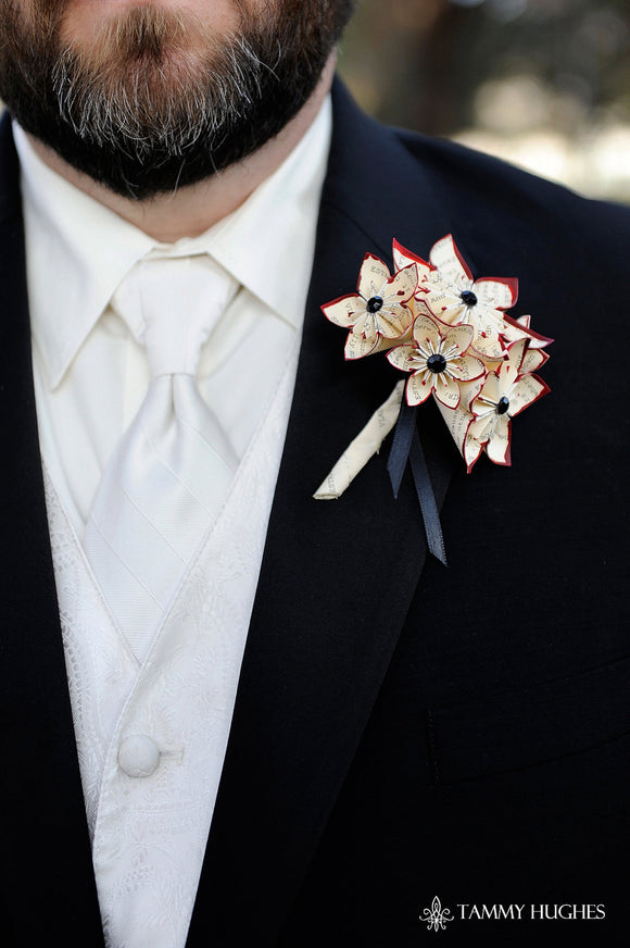 Paper Flower Grooms Boutonniere- 5 Flowers, wedding accessory, groomsmen, wedding, handmade, origami, paper flowers
